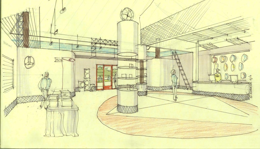 Car Stereo One Lobby interior sketch for Turtle, Airport Highway, Toledo